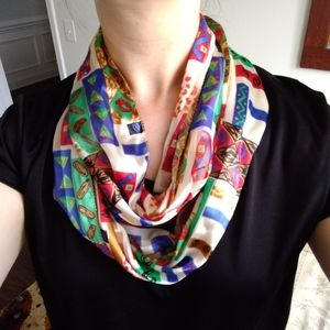 Patterned silky infinity scarf